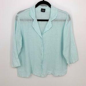 Eileen Fisher Blue 3/4 Sleeve Button Down Shirt